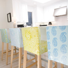 Modern Fabric Laminated slipcovers on barstools