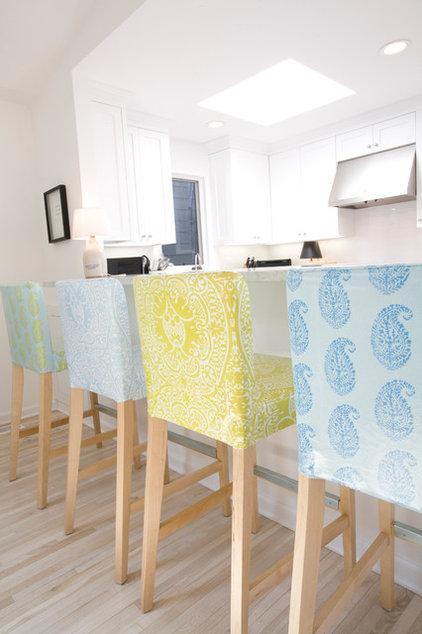 Modern Fabric Laminated slipcovers on barstools