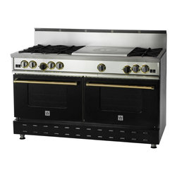 "60"" BlueStar RNB French Top Range - Jet Black (RAL9005) 60"" RNB French Top Gas Range with 6 Burners, can come in 190 different colors. This burner configuration is just one of the many options."