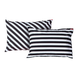 SWENYO - Black/White Stripe Pillowcases, Set of 2 - Same is lame. Our unique pillowcases will add color and personality to any space. Hand-selected by our team of designers, this contrasting pillowcase set has vibrant colors and an incredibly soft feel finished with our signature red SWENYO tag.