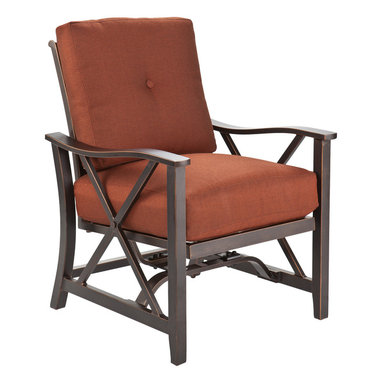 SEI - Xander Outdoor Stationary Spring Rocker Chairs, Set of 4 - Enjoy a night of relaxation outdoors with this contemporary set of four stationary spring rocker chairs. It's the perfect way to embrace serene outdoor living.