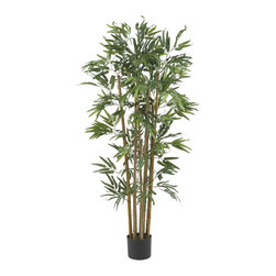 Nearly Natural - 4' Multi Bambusa Bamboo Silk Tree - Keep your yin and yang in complete harmony with this gorgeous Multi Bambusa Bamboo Tree. The perfect choice for any Asian decorating theme, this handsome tree can be used alone as a focal point for your home foyer or place it in your living room alongside a decorative Shoji screen. A mix of authentic designed trunks supports seven-hundred lush vibrant hued leaves. At 4 feet tall, it's large enough to make a statement yet small enough for easy transporting. Colors: Green; # of Leaves: 700 Lvs; Pot Size: W: 6 in, H: 5 in. Height: 4 ft; Width: 30 in; Depth: 30 in.