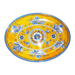 "Le Cadeaux - Benidorm Melamine Oval Serving Platter, Yellow, 12"" - Benidorm Yellow by Le Cadeaux is the ultimate in Melamine Dishes.  Beautiful summertime shades of Blue and Yellow will enhance any table setting indoors or outdoors.  You will not know its melamine until you pick it up."