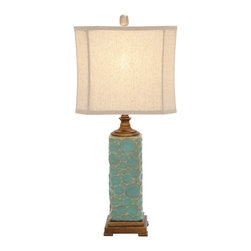 ecWorld - Urban Designs Carmel Seafoam Handcrafted Ceramic Table Lamp - Set of 2 - The dramatic handcrafted base design of this ceramic table lamp stands out in a dazzling seafoam finish. Handcrafted by expert Artisans.