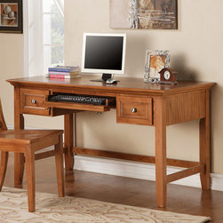 Steve Silver Furniture - Steve Silver Oslo Writing Desk in Oak - The Oslo Writing Desk (Oak) provides ample working space as well as storage space with it's two drawers and keyboard tray.  Available in black  white or cherry