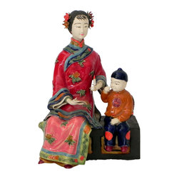 Asian Woman and Child Figurine - Gorgeous and Delicate Asian Woman and Child Sitting on Trunk.  Rich colors of Crimson, corals, blues, greens and golds. Collectable item, one-of-a-kind of excellent quality.