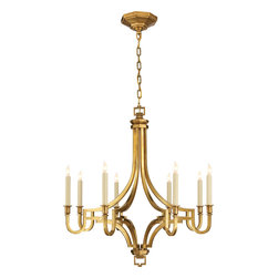 Mykonos Small Chandelier - Work the brass trend into your dining room or entryway with an elegant chandelier. The octagonal shape is perfect for a smaller space, while eight bulbs will fill your room with a golden glow. It's the ideal choice for a modern home.