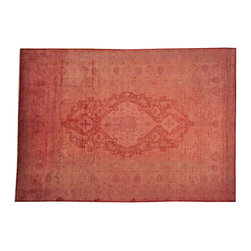 1800GetARug - Pure Silk Overdyed Ottoman Rose Cast Hand Knotted Oriental Rug Sh17712 - The Overdyed and Patchwork hand knotted rug, represents one of the hottest trends in the industry today. Each Overdyed rug is stripped of its original colors, then dyed again in vibrant hues, to create unique and one-of-a-kind pieces. The Patchwork rug is handcrafted out of salvaged, vintage carpets, with a variety of colors combining to form a wholly unique and textured design.
