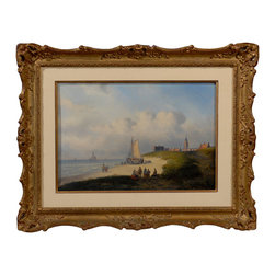 "Consigned ""View of Scheveningen with Ship"" by Carl Eduard Ahrendts - Now's the time for you to own this 19th Century, original work by an acclaimed Dutch artist, Carl Eduard Ahrendts. Beautifully framed, this oil-on-wood seascape will add to and enhance your collection. Famous for his seascapes and winter scenes, his paintings have been sold at auction at Christie's and Bonhams."