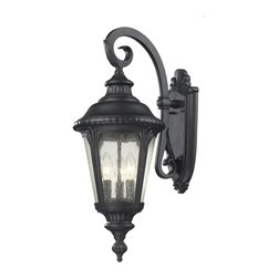 Z-Lite - Z-Lite Medow Outdoor X-KB-M545 - Traditional and timeless, this medium outdoor wall mount combines black cast aluminum hardware with seedy glass for a classic look.