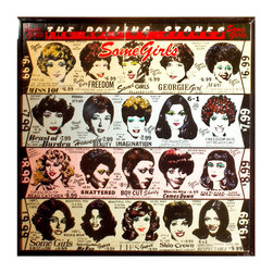 "Glittered Rolling Stones Some Girls Album - Glittered record album. Album is framed in a black 12x12"" square frame with front and back cover and clips holding the record in place on the back. Album covers are original vintage covers."