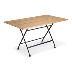 Thos. Baker - Teak Dining Table with Steel Legs | Taverna Collection - The taverna dining table features premium grade teakwood slats bolted to powder-coated steel leg frames.  Perfect for 4-6 in a compact space.  A