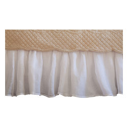 Taylor Linens - Linen Voile White Eastern King Bed Skirt - Floaty? Yes! Fussy? No! This bed skirt boasts breezy open-weave linen with a crisp cotton lining. You'll love the vibe and the versatility, which suits just about any bedroom decor.