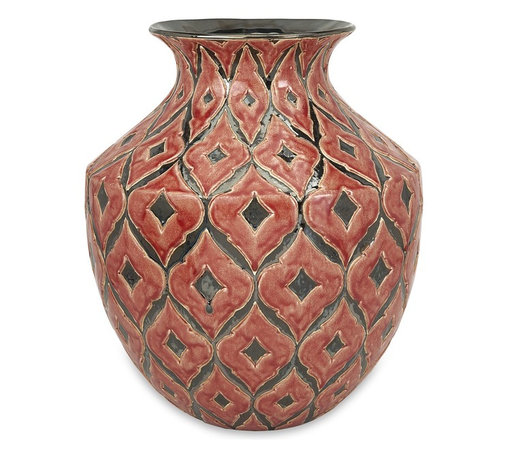 iMax - iMax Azzura Oversized Wide Floor Vase X-68698 - The wide Azzura oversized floor vase features a warm Moroccan inspired raised pattern with a soft red/orange glazed finish.
