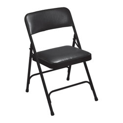 National Public Seating - Premium Vinyl Folding Chair - Set of 4 - Set of 4. V-shaped stability plugs. Two U-shaped double riveted cross braces. Double hinges for added stability and durability. 18-gauge steel tubing. Fully upholstered seat and back attached with 6 rivets. 0.80 mm vinyl over 1.25 in., 0.9 lbs. density foam seat and 1.2 lbs. density back. Cal 117 rated vinyl and foam. Steel contains 30-40% of post-consumer waste (recycled). Meets ANSI and BIFMA standards. Warranty: Five years for material. Weight capacity: 480 lbs.. 18.75 in. W x 20.25 in. D x 29.5 in. H