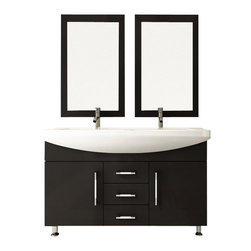 "JWH Imports - 48"" Celine Double Sink Modern Bathroom Vanity Furniture Cabinet - His and his, hers and hers, or his and hers; this double sink vanity covers all the couple bases. Modern, elegant and functional, the solid oak bathroom set is made to last. Ceramic-integrated sinks and loads of storage space make this a full package for your restroom remodel."