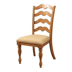 Hillsdale Furniture - Hillsdale Hamptons Side Chair (Set of 2) in Weathered Pine - Rich in quality and design, Hillsdale Furniture's Hamptons dining collection boasts a dynamic weathered pine finish, a transitional ladder back chair, and a round dining table with a leaf that provides room for seating up to six people comfortably. To complete your dining room, this collection features a matching server with 2 glass doors and 1 pane for display and storage space. Solid pine construction. Assembly required.