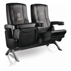 Dreamseat Inc. - Ford Mustang Cobra Row One VIP Theater Seat - Quad - Please note: This item is the 4-seat version. We apologize that we do not have photos of 4 together. Check out these fantastic home theater chairs. These are the same seats that are in the owner's VIP luxury boxes at the big stadiums. It has a rocker back and padded seat, so it's unbelievably comfortable - once you're in it, you won't want to get up. Features a zip-in-zip-out logo panel embroidered with 70,000 stitches. Converts from a solid color to custom-logo furniture in seconds - perfect for a shared or multi-purpose room. Root for several teams? Simply swap the panels out when the seasons change. This is a true statement piece that is perfect for your Man Cave, Game Room, basement or garage.