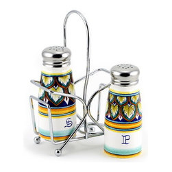 Artistica - Hand Made in Italy - Deruta Vario: Salt and Pepper Shakers Set with Stainless Steel Top - Metal parts made in the USA-Ceramic parts hand painted and imported from Deruta-Italy.