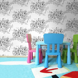 Graham & Brown - Colour Me Black & White Wallpaper - Designed as part of the 'New Wave' design talent initiative by Illustrative designer Lizzie Mary Cullen, this innovative wallpaper designed to be coloured in is a great way to get creative with your walls and create your own masterpiece, and as the design is printed on a non woven base it means that it is not only easy to hang but also easy to remove when you fancy a change.