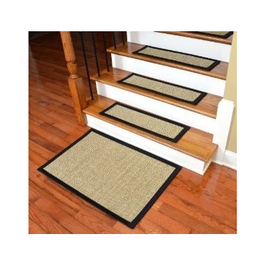 "Dean Flooring Company - Dean Non-Skid Sisal Carpet Stair Treads - Desert/Black (Set of 13) Plus Mat - Dean Attachable Non-Skid Sisal Carpet Stair Treads - Desert/Black (Set of 13) Plus a 2' x 3' Mat : Beautiful All Natural Sisal Stair Treads by Dean Flooring Company. Color: Desert Approximately 29 inches by 9 inches. Set includes 13 stair treads plus a 2' x 3' mat. Each tread is bound with 3"" wide black binding tape. High quality sisal natural fiber construction. Heavy duty non-skid rubber backing. Helps prevents slips on your hardwood stairs. Provides warmth and comfort. Extends the life of your hardwood stairs. Great for pets (facilitates navigation of slippery stairs). Easy do-it-yourself installation with included Double-Sided Carpet Tape. Add a touch of warmth and style to your stairs today!"