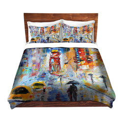 DiaNoche Designs - Duvet Cover Microfiber - A New York New Year - DiaNoche Designs works with artists from around the world to bring unique, artistic products to decorate all aspects of your home.  Super lightweight and extremely soft Premium Microfiber Duvet Cover (only) in sizes Twin, Queen, King.  Shams NOT included.  This duvet is designed to wash upon arrival for maximum softness.   Each duvet starts by looming the fabric and cutting to the size ordered.  The Image is printed and your Duvet Cover is meticulously sewn together with ties in each corner and a hidden zip closure.  All in the USA!!  Poly microfiber top and underside.  Dye Sublimation printing permanently adheres the ink to the material for long life and durability.  Machine Washable cold with light detergent and dry on low.  Product may vary slightly from image.  Shams not included.