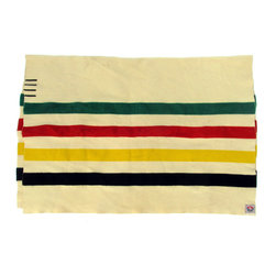 Pendleton - Consigned Old Pendleton Glacier National Park Blanket Candy Stripe - Old Glacier National Park Pendleton wool blanket in the style of a Candy Stripe Hudson Bay 4-Point blanket. Good condition for the age with some moth grazing and small holes, original label.
