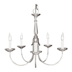Lieverman and Assoc. - Livex - Lieverman and Assoc - Livex  5-Light Chandelier in Brushed Nickel - This 5 light Chandelier from the Home Basics collection will enhance your home with a perfect mix of form and function.