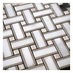 Stone & Co - Thassos White Marble and Timber White Marble Mix Basketweave Mosaic Tile - Thassos white marble and timber white marble mix basket-weave mosaic tile