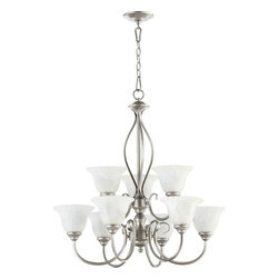 Joshua Marshal - Nine Light Amber Scavo Glass Classic Nickel Up Chandelier - Nine Light Amber Scavo Glass Classic Nickel Up Chandelier