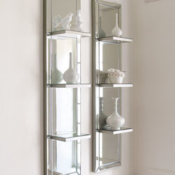 """Horchow - Mirrored Shelf Wall Panel - Ours exclusively. Triple-shelf wall panel of antiqued, beveled glass is framed in silver-finished wood. Sold individually. Each handcrafted panel is 12""""W x 7""""D x 50""""T."""