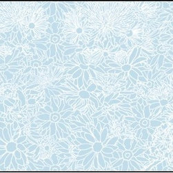 Casart coverings - Flower Power, White/Light Blue Wallcoverings, White/Light Blue, Small Roll (37 S - Botanicals feature nature inspired and artist created floral and botanical elements that are too good to eat and no need to water. Flower Power is a Casart covering featuring a colorful flower design.