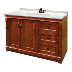 Pegasus - Naples 48 in. Single Vanity w Drawers - NACA4 - Manufacturer SKU: NACA4821D. Vanity top, faucet, sink and backsplash not included. Transitional design. Two doors. Three full extension dovetail drawers. Black birdcage style hardware. Easy to clean PVC coated maple interior. Plywood side construction. Warm cinnamon finish. No assembly required. 48 in. W x 21.63 in. D x 34 in. H (91.30 lbs.)