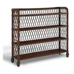 Conservatory Garden Wicker Etagere - I love that this piece has Edwardian style, yet fits in well with tropical rooms or could sidle right into a Shingle-style home. Fill it with books and favorite treasured objects.