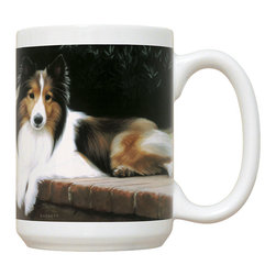 395-Sheltie-Porch Mug - 15 oz. Ceramic Mug. Dishwasher and microwave safe It has a large handle that's easy to hold.  Makes a great gift!