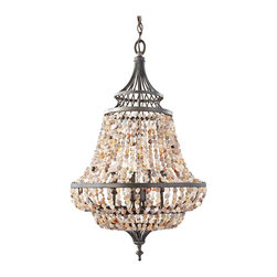 "Feiss - Iron Feiss Maarid 18 1/4"" Wide Rustic Iron Chandelier - This transitional style four light rustic iron chandelier has a beautiful design that celebrates the beauty of nature. The three light fixture features multi-color polished stone strands draping the metal frame. From the Maarid collection. By Murray Feiss. Rustic iron finish. Multi-color polished stone strands. From the Murray Feiss Maarid collection. Takes four 60 watt candelabra bulbs (not included). Incudes 5 feet of chain 15 feet of lead wire. 30 1/4"" high. 18 1/4"" wide. Overall 97 1/4"" maximum hanging height. Canopy is 1/4"" wide. Hang weight 21 1/2 lbs.  Rustic iron finish.  Multi-color polished stone strands.  From the Feiss Maarid collection.  Takes four 60 watt candelabra bulbs (not included).  Incudes 5 feet of chain 15 feet of lead wire.  30 1/4"" high.  18 1/4"" wide.  Overall 97 1/4"" maximum hanging height.  Canopy is 1/4"" wide.  Hang weight 21 1/2 lbs."