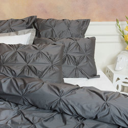 Twin/Twin XL 400 Thread Count Pintuck Duvet Cover, The Valencia Dark Gray - Full of volume and elegance, this 400 thread count white pintuck duvet will add textural dimension to subtly bring your room to life.  Multiple pintucks are sewn to perfection. Perfect for a college dorm room, or a kids bedroom!