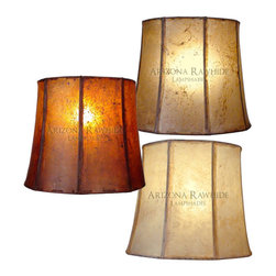 "Indus Design Imports - Rawhide Barrel Lamp Shade - Large Table Lamps Size 14""H x 16""W (13""W Top) - BRLXL - Available in AMBER, NATURAL & OFF-WHITE"