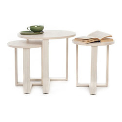 3-Pc Oval Nesting Tables - You're stylish, but sometimes life in the city means you have to make sacrifices due to space constrains. Not with these tables you don't! This maple wood trio conserves space by nesting when not in use and creates a truly coordinated look when clustered together.
