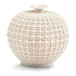 Diana Vase -Small - Textile texturing, from a delicate coiled-thread styling near the neck to a braided detail at the base, continues the translucent interest of the Small Diana Vase's body. The majority of the nearly-spherical vessel is made from a delicate lattice reminiscent of formal garden arbors, but rendered in a tiny scale that turns the lines from architectural to lace-like.