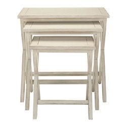 Safavieh - Maryann Stacking Tray Tables - So classic they'll complement any decorating theme from country to transitional, the Maryann stacking tray tables are a wonderful small space accessory. Crafted of poplar wood with white washed finish, they're perfect for parties or for snacks and drinks when the family gathers to watch TV.