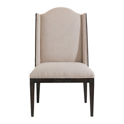 Stanley Furniture - Charleston Regency Ashley Host Chair - A shallow shelter back bordered in Classic Mahogany frames the Petite Braided Trellis fabric of the Ashley Host Chair. Made to order in America.