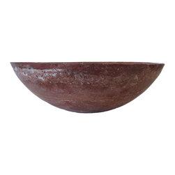 Novatto - Red Travertine Natural Stone Vessel Sink, 17-Inch Diameter - With nature as both guide and inspiration, Novatto searches worldwide to select the finest quality travertine for our master stone artisans to handcraft into these stylish vessels. Honed and polished to perfection, each red 17-inch round vessel is beautifully unique. Because the travertine is from Mother Nature, each sink may vary slightly in color and appearance. These sinks are constructed for above-counter installation with standard U.S. plumbing connections. Travertine is a porous stone material and should be sealed for best cleaning results. Made with the highest standards of quality and creative design, Novatto sinks add art and function to any bath or powder room.