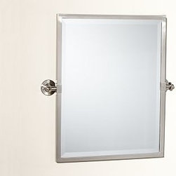 Kensington Pivot Mirror, Rectangle, Satin Nickel finish - With a simple design and functional details, our best-selling Kensington Mirror is constructed for easy installation.Thick-plated beveled mirror is framed in aluminum for unrivaled strength.Sturdy wall brackets allow it to tilt and stay put at the perfect angle.Rectangular size is shown in Polished Nickel finish; x-large rectangle or x-large wide rectangle are is also available.Mounting hardware is included. View our {{link path='pages/popups/fb-bath.html' class='popup' width='480' height='300'}}Furniture Brochure{{/link}}. Catalog / Internet Only.