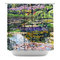DiaNoche Designs - Shower Curtain Artistic Giverny Reflections - DiaNoche Designs works with artists from around the world to bring unique, artistic products to decorate all aspects of your home.  Our designer Shower Curtains will be the talk of every guest to visit your bathroom!  Our Shower Curtains have Sewn reinforced holes for curtain rings, Shower Curtain Rings Not Included.  Dye Sublimation printing adheres the ink to the material for long life and durability. Machine Wash upon arrival for maximum softness on cold and dry low.  Printed in USA.
