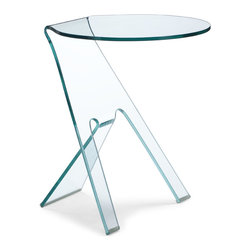 ZUO MODERN - Journey Side Table, Clear Glass - Simple in shape, and yet chic in overall aesthetic, the Journey is made of bent semi-tempered glass with rubber corner caps.