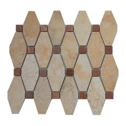 "Octave Pattern Jerusalem Gold With Wood Onyx Dot 1/2 X 1/2 Marble Tile - OCTAVE PATTERN JERUSALEM GOLD WITH WOOD ONYX DOT 1/2 X 1/2 GLASS TILES These hand-made window patterns are made from stone mosaics, each piece fits into the next like a perfect puzzle. Its stunning design and unique pattern of squares and oblong octagons will bring warmth and a natural ambience to your home. Chip Size: 3 3/4"" x 2"" Dot: 3/4"" x 3/4"" Color: Jersualem Gold, Wood Onyx Material: Jersualem Gold, Wood Onyx Finish: Polished Sold by the Sheet - each sheet measures 10.25"" x 11.75"" (0.84 sq. ft.) Thickness: 8mm"
