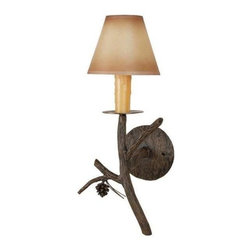 Stone County Ironworks - Candle Wall Sconce with Amber Candle Drip Cover - Great design and fine craftsmanship. Gold or copper highlights showcase the pinecone and needles. 60 watts max.. Made from iron. 6 in. Dia. x 11 in. H (9 lbs.)Dazzling hand-forged realism reflected in the natural beauty of this evergreen conifer. The gifted black-smith artisans here in the hills of Arkansas make every effort to translate every detail, from the rustic elegance of a hand-made pine-cone, to the warm texture of hammered bark. Transform any room by bringing the great outdoors inside.