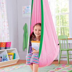 Hugglepod, Children's Canvas Hanging Egg Chair - A canvas hanging chair tucked in a corner of the room would be every kid's dream reading nook. Or, knowing my kids, it would be the perfect place to hide from mom.