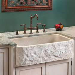 Polished Marble Farmhouse Sink - Chiseled Front - The chiseled apron front of this farmhouse sink gives this sink its unique character. Each basin is hand-crafted with its own unique design.